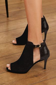 Black Forever Comfort® Cut-Out Peep Toe Shoe Boots