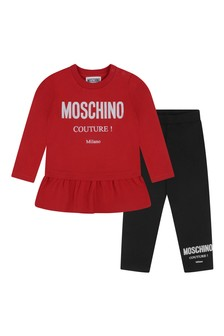 Baby Girls Red/Black Cotton Leggings Set