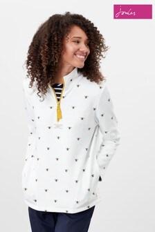 Joules Cream Pip Print Casual Half Zip Sweatshirt