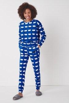 Blue Sheep Cotton Pyjamas