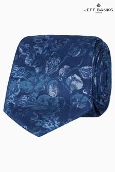 Jeff Banks Blue Tonal Floral Silk Tie