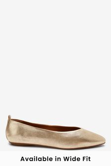 Gold Signature Forever Comfort® Leather Ballerina Shoes