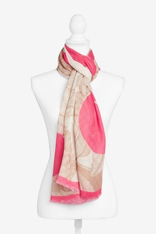 Pink Floral Graphic Print Lightweight Scarf