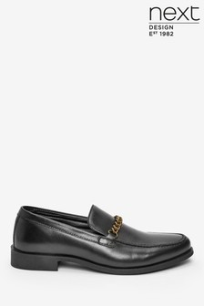 Black Chain Detail Leather Loafers