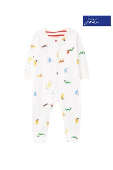 Joules White Ziggy Organically Grown Cotton Printed Sleepsuit