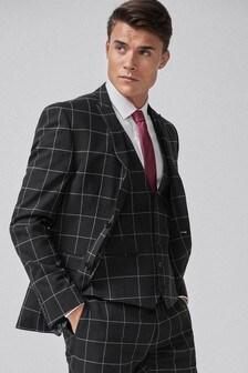 Black Windowpane Skinny Fit Check Suit: Jacket