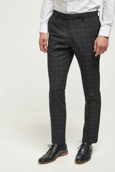 Black Skinny Fit Check Suit: Trousers