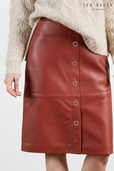 Ted Baker Red Deetra Leather Button Front Pencil Skirt
