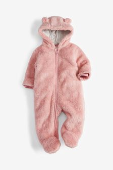 Pink Bear Fleece All-In-One (0mths-2yrs)