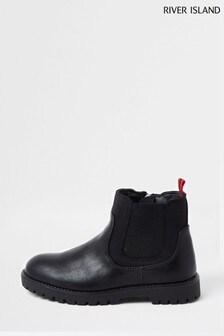 River Island Black Neoprene Chelsea Boots