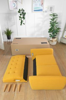 Soft Marl Ochre Hyett 2 Seater 'Sofa In A Box' with Light Legs