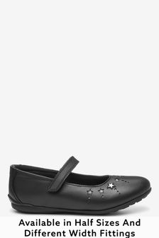 Black Leather Narrow Fit (E) Star Mary Janes Shoes