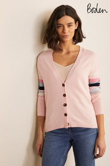 Boden Pink Lennox Relaxed Cardigan