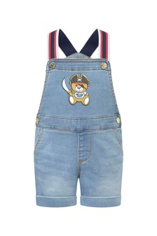Moschino Kids Baby Boys Blue Cotton Blend Dungarees