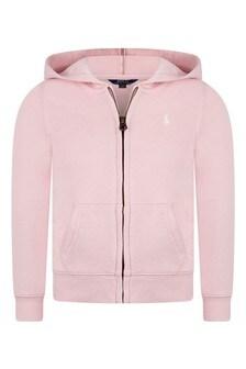 Girls Light Pink Zip Up Top