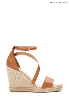 Mint Velvet Tan Daisy Espadrille Wedges