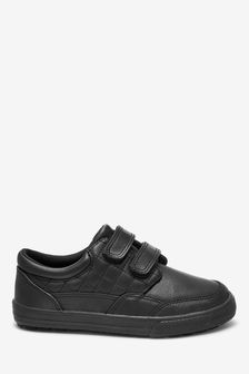 Black Leather Double Strap Shoes (Older)