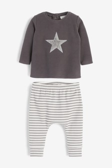 Monochrome Cosy Fleece Star Jumper And Legging Set (0mths-2yrs)