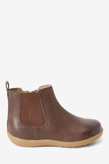 Chocolate Little Luxe™ Leather Chelsea Boots