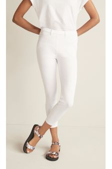 White Jersey Cropped Leggings