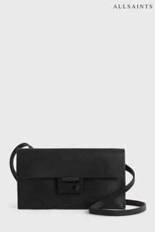 AllSaints Black Francoise Leather Cross Body Bag