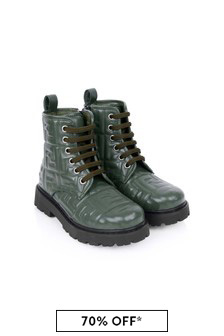 Kids Green Leather Logo Boots