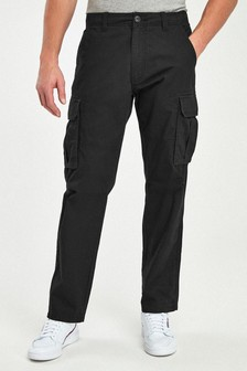 Black Straight Fit Cotton Cargo Trousers