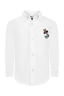 قميصأكسفورد قطن أبيض دبأولادي