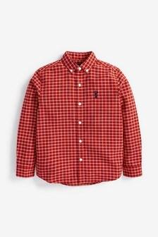 Red Gingham Long Sleeve Oxford Shirt (3-16yrs)