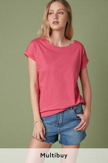 Fuchsia Pink Cap Sleeve T-Shirt
