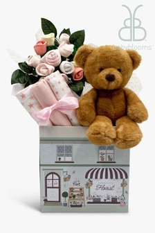 Babyblooms New Baby Pink Gift Hamper with Charlie Bear Soft Toy