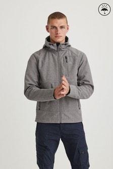 Grey Shower Resistant Softshell Hooded Jacket