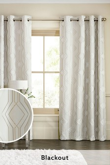 Champagne Geo Jacquard Eyelet Curtains