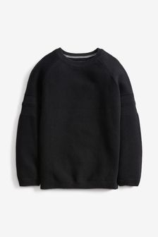 Black Without Stag Textured Crew Jumper (3-16yrs)