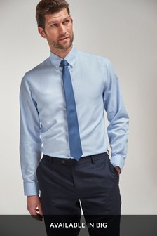 Blue Regular Fit Easy Iron Button Down Shirt With Trim Detail And Navy Tie