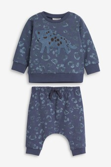 Blue Leopard Co-ord Jumper And Jogger Set (0mths-2yrs)