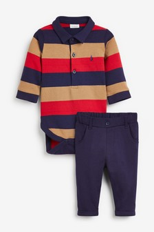 Multi Striped Polobody And Chino Set (0mths-3yrs)