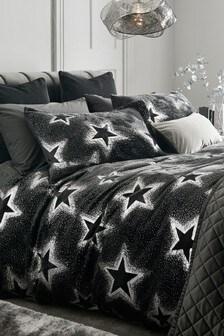 Fleece Foiled Metallic Star Duvet Cover and Pillowcase Set