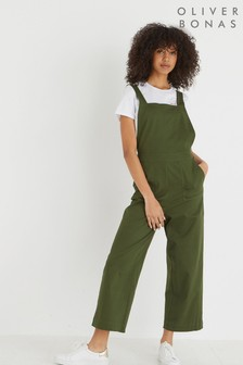 Oliver Bonas Green Button Back Wide Leg Jumpsuit