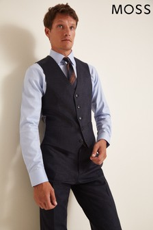 Moss 1851 Performance Tailored Fit Navy Check Waistcoat