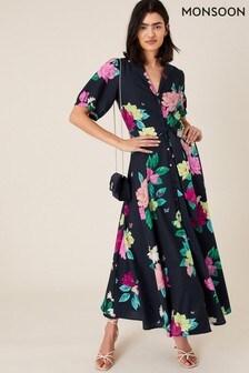 Monsoon Blue Una Floral Print Shirt Dress