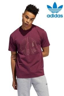 Burgundy adidas Originals Trefoil Deco T-Shirt