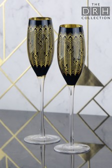 Set of 2 Midnight Peacock Champagne Flutes By The DRH Collection
