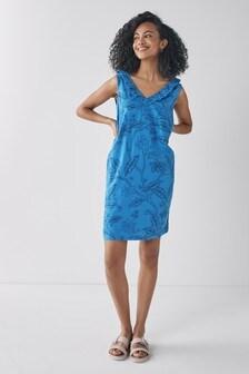 Blue Floral Linen Mix Ruffle Dress