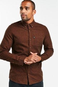Brown Slim Fit Jaspe Long Sleeve Shirt