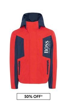 BOSS Boys Red Cotton Jacket