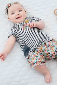 Multi Bright 3 Piece Character T-Shirt, Floral Shorts And Headband Set (0mths-2yrs)