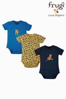 Frugi Organic Cotton Navy/Leopard/Blue Bodysuits 3 Pack