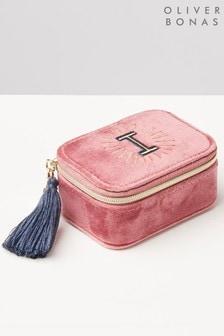 Oliver Bonas Sol Pink Velvet Alphabet I Travel Jewellery Box