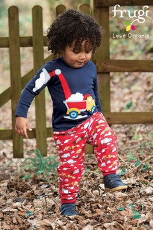 Frugi GOTS Organic Red Digger Print Cosy Joggers